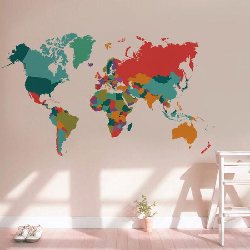Multicoloured world map wall sticker fuel the fernweh products hot prices from ali buy color world map wall sticker living room bedroom home decor pvc wall sticker import large size self adhesive mural naklejki for gumiabroncs Image collections