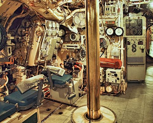 Part of the control room of the WWII design British submarine HMS