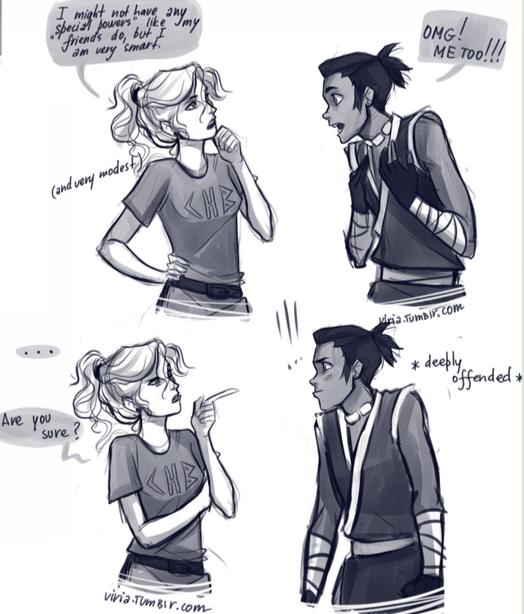 Avatar and Percy Jackson Sakka and Annabeth