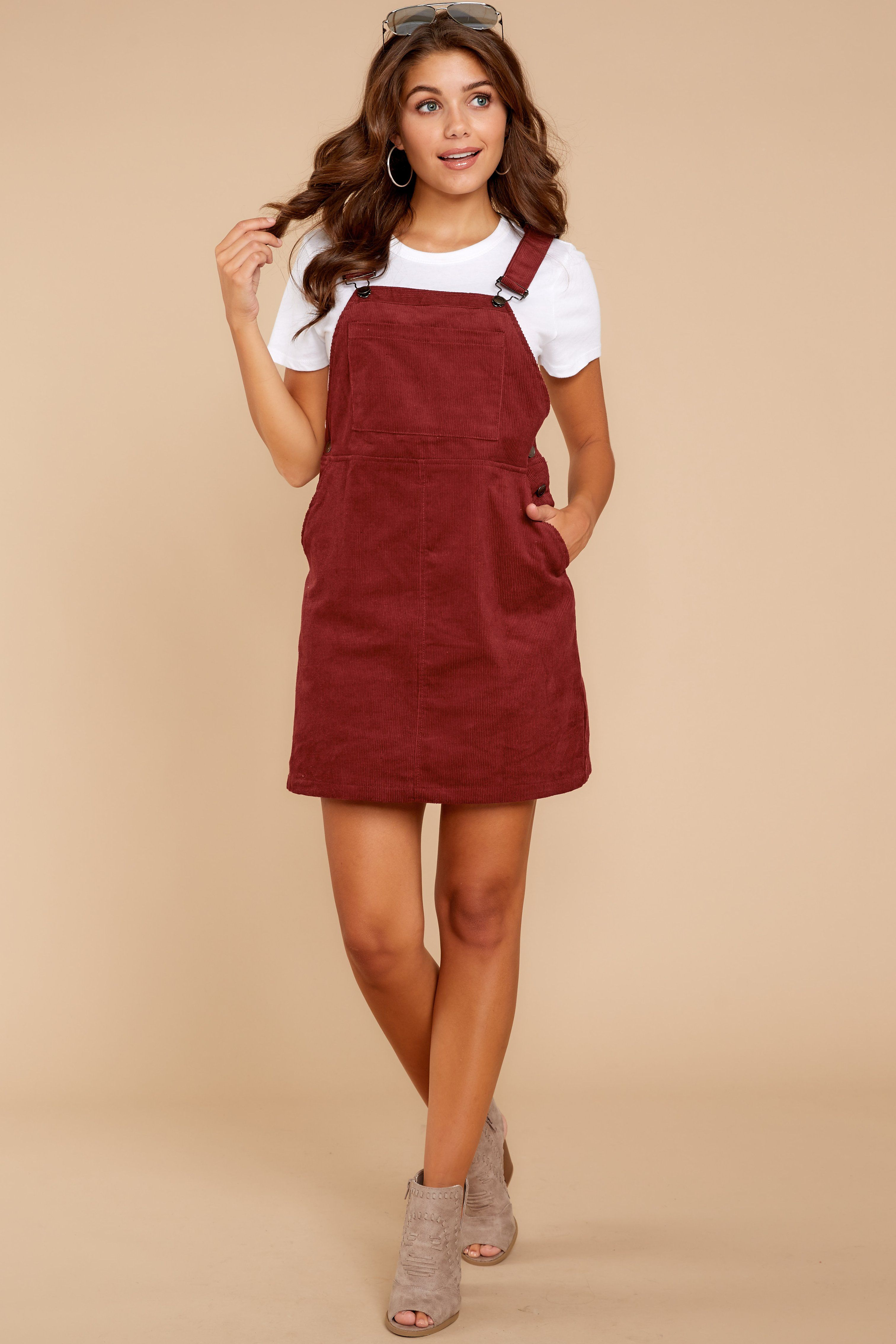 9ab03291a52 Trendy Burgundy Overall Jumper - Corduroy Jumper - Jumper -  46.00 – Red  Dress Boutique