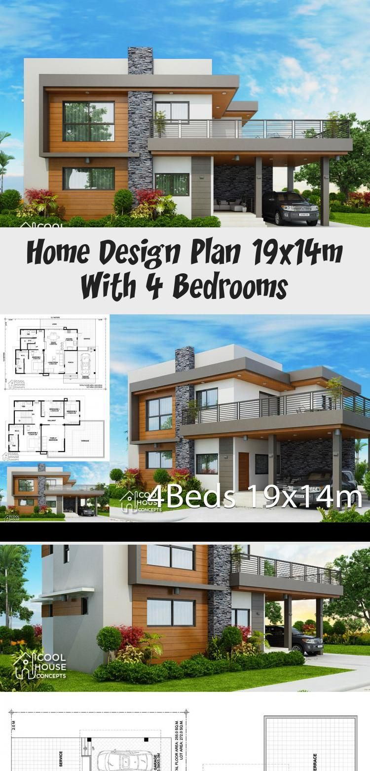 Home Design Plan 19x14m With 4 Bedrooms Home Design With Plansearch Houseplans2000sqft Squarehous In 2020 Courtyard House Plans House Design Affordable House Plans