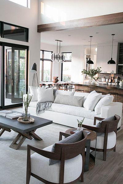 Modern Farmhouse Living Room Exposed Wood Beams White Furniture Black Pendan Neutral Living Room Design Open Living Room Design Farm House Living Room