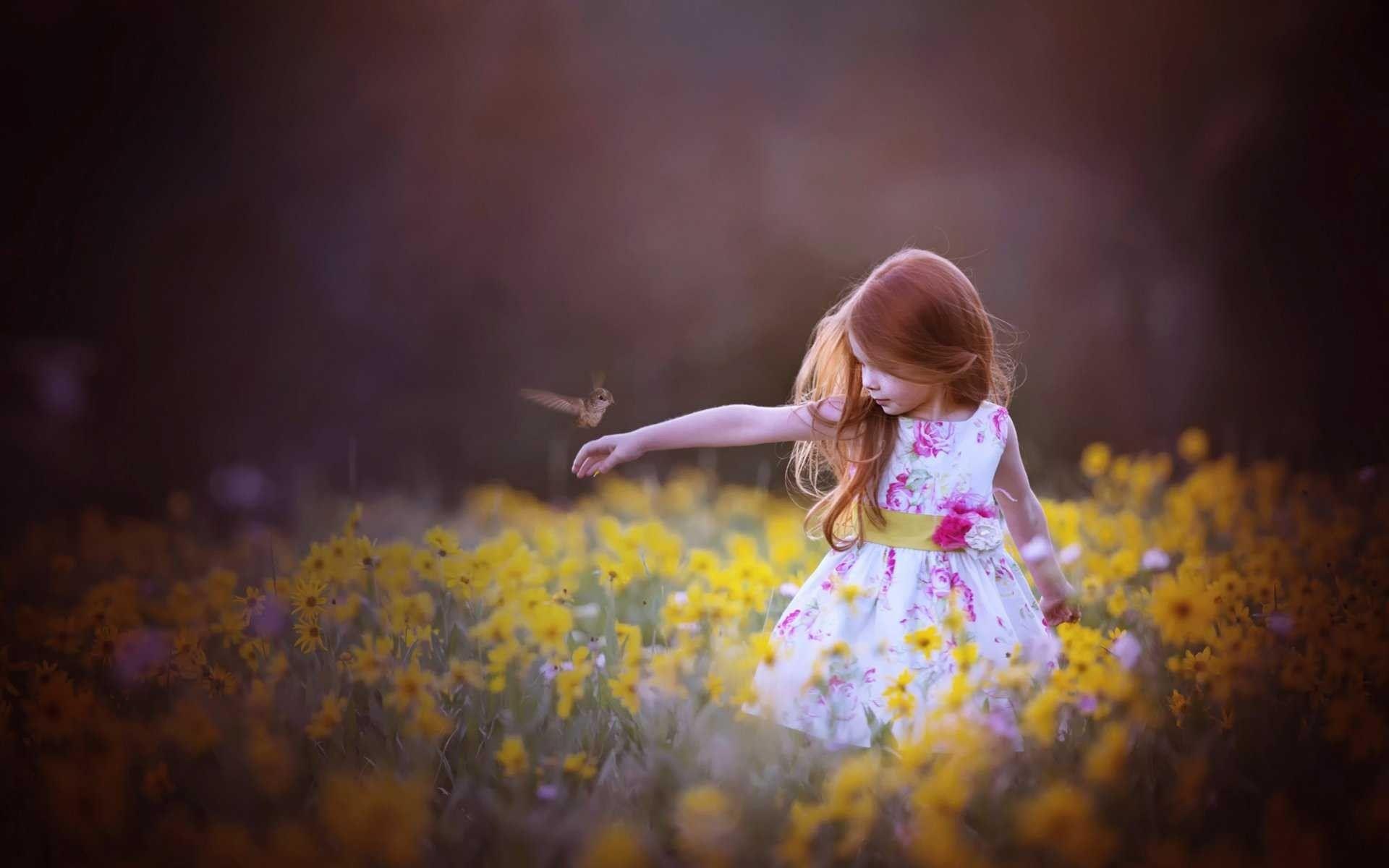 Cute Little Girl With Bird Hd Wallpapers Hd Wallpapers Met