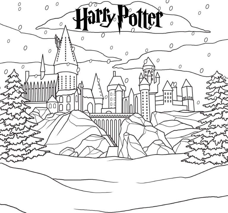 Harry Potter Hogwarts Castle In Winter Coloring Page Harry Potter Colors Harry Potter Coloring Pages Harry Potter Drawings