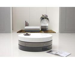 Table basse ronde anna laqu e gris et blanc meubles int rieurs pinteres - Table ronde laquee blanc ...