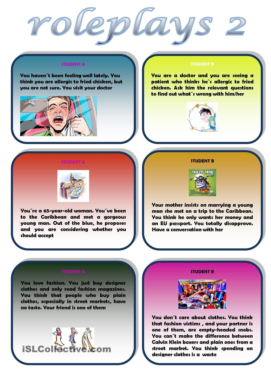 Roleplays 2 Speaking Activities English Speaking Activities Esl Speaking Activities