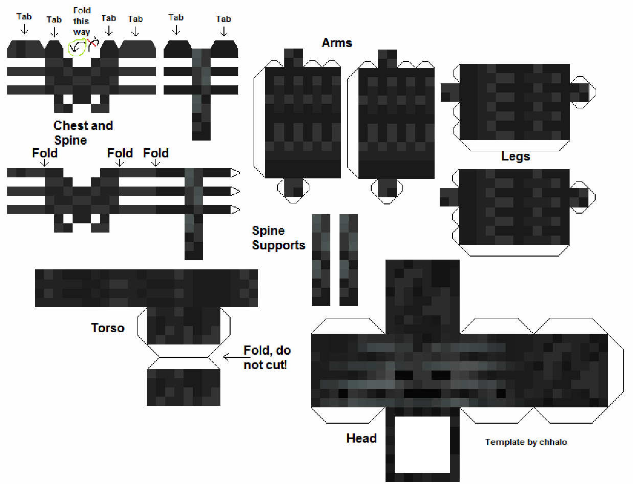 Papercraft Wither Skeleton  Minecraft crafts, Minecraft