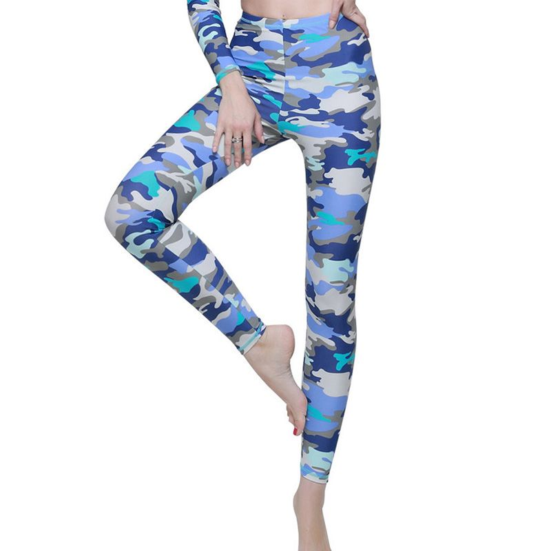c8ac4ba183b95 2016 Women Camouflage Rash Guard Pants Upf50 UV Protection Yoga Running  Sports Surf Quick Dry Tight