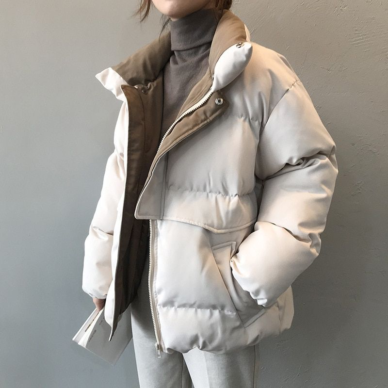 Patchwork Winter Jacket Fashion Short Parka Harajuku Overcoat Padded Female  Stand Collar… | Winter fashion jackets, Winter jackets women fashion,  Trench coats women