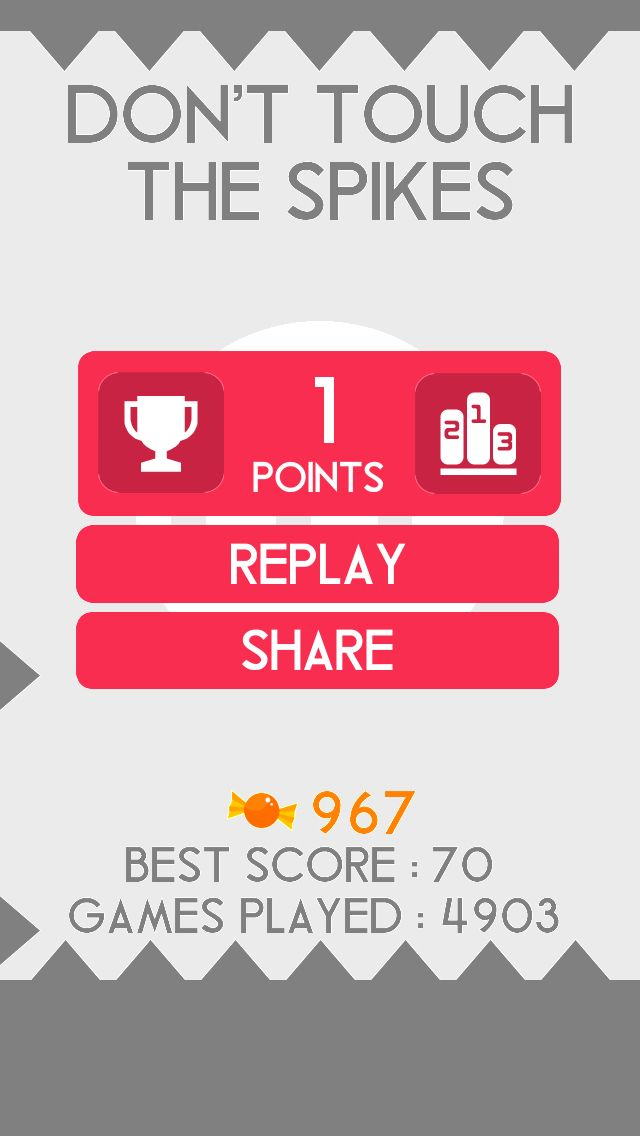 OMG! I got 1 points in Don't Touch The Spikes @spikesgame https://itunes.apple.com/app/id895942435