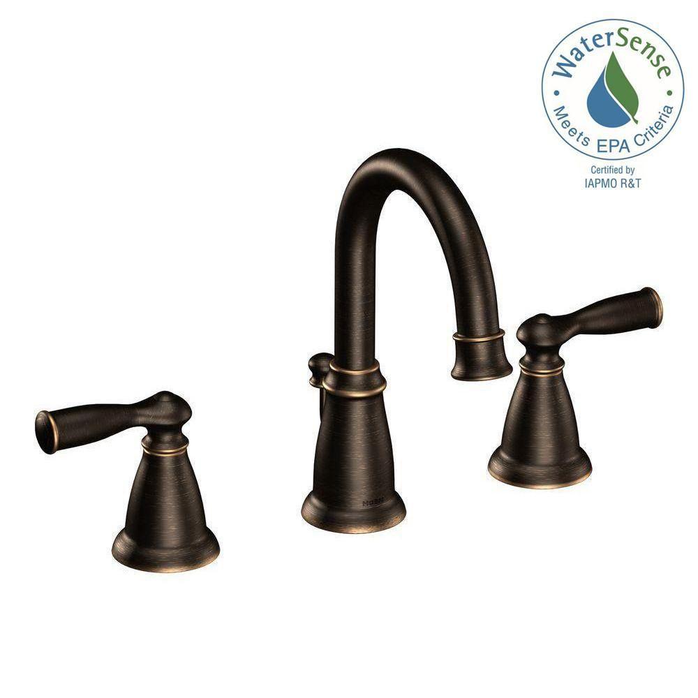 Moen Banbury 8 In Widespread 2 Handle Bathroom Faucet In Mediterranean Bronze Ws84924brb Bronze Bathroom Faucets High Arc Bathroom Faucet Roman Tub Faucets [ 1000 x 1000 Pixel ]