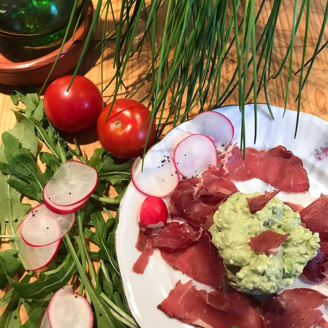 Something light again. Avocado and feta dip with a little ham. All pictures and d Something light again. Avocado and feta dip with a little ham. All pictures and d