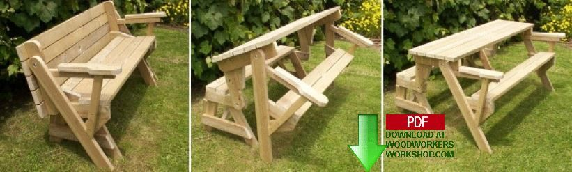 24-001 - Folding Bench and Picnic Table Combo (PDF) Woodworking Plan - - 24-001 - Folding Bench And Picnic Table Combo (PDF) Woodworking