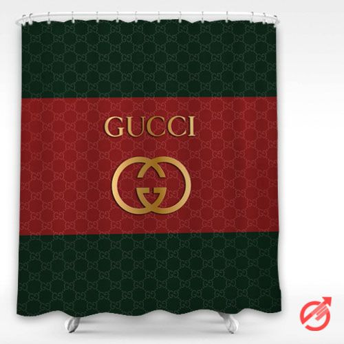 Gucci Golden Logo Red Green Surface Shower Curtain