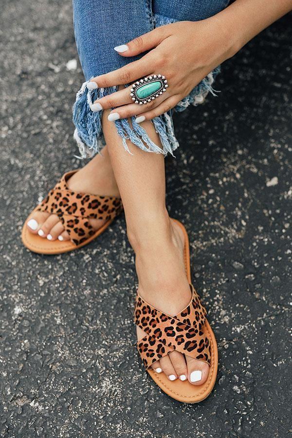 Lulus   Koren Leopard Espadrille Slide Sandal Heels   Size