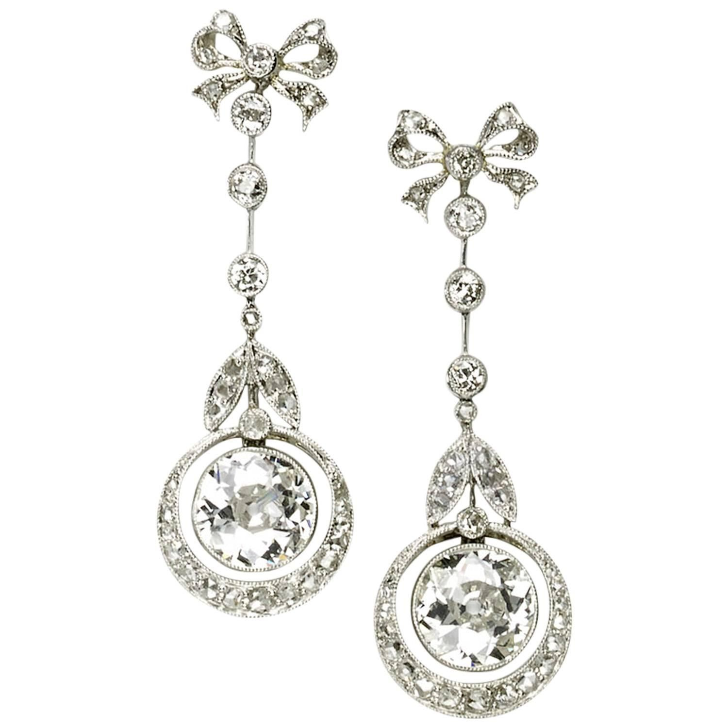 Edwardian Diamond Platinum Drop Earrings