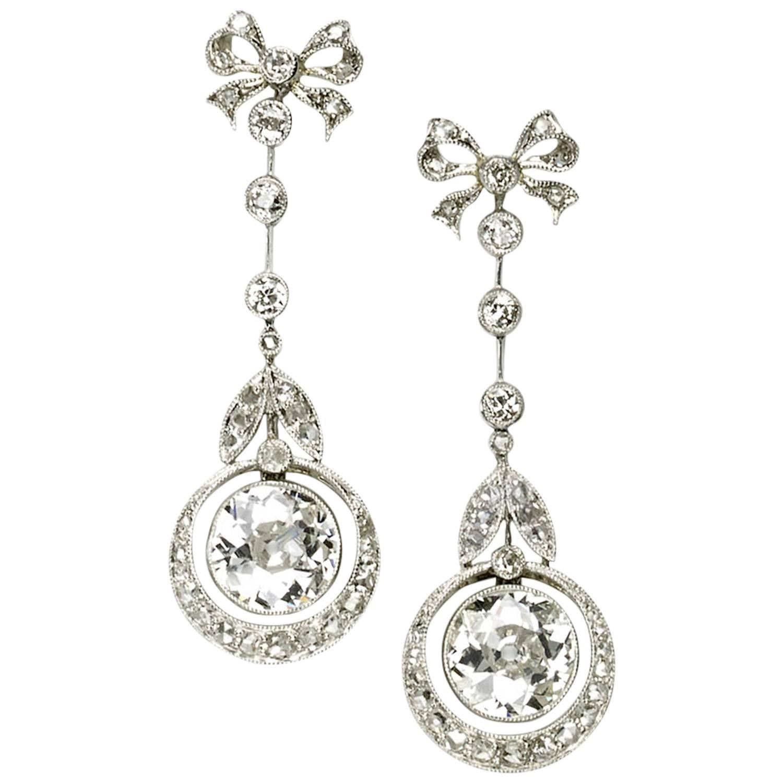 Edwardian Diamond Platinum Drop Earrings