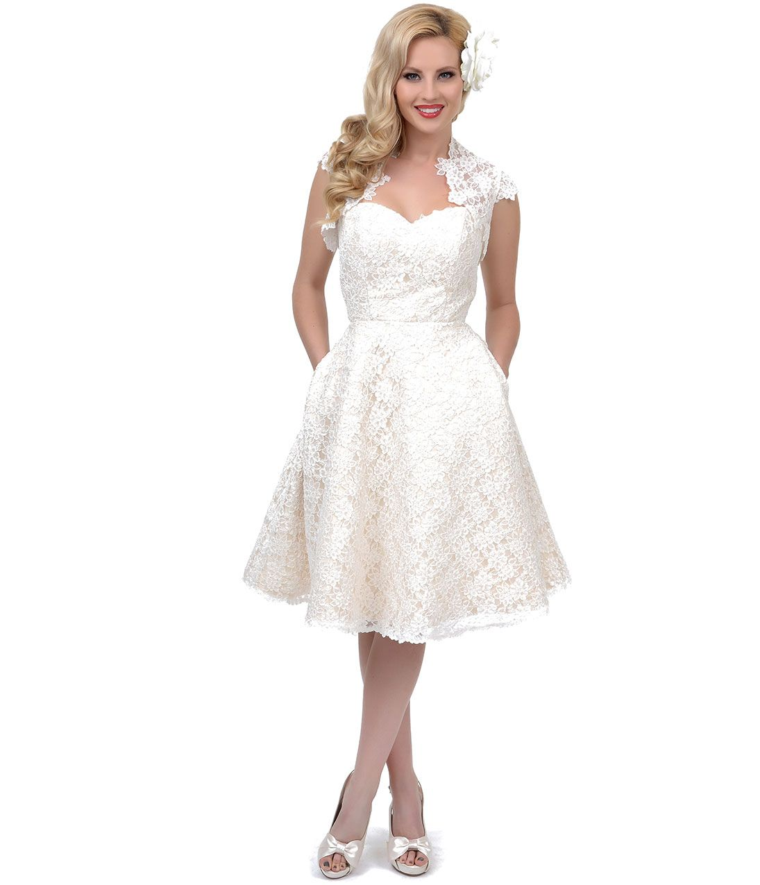 f732fcf822 White prom dress 1950s style - Embroidered Lace Tea Length Jaqueline Dress  with Jacket