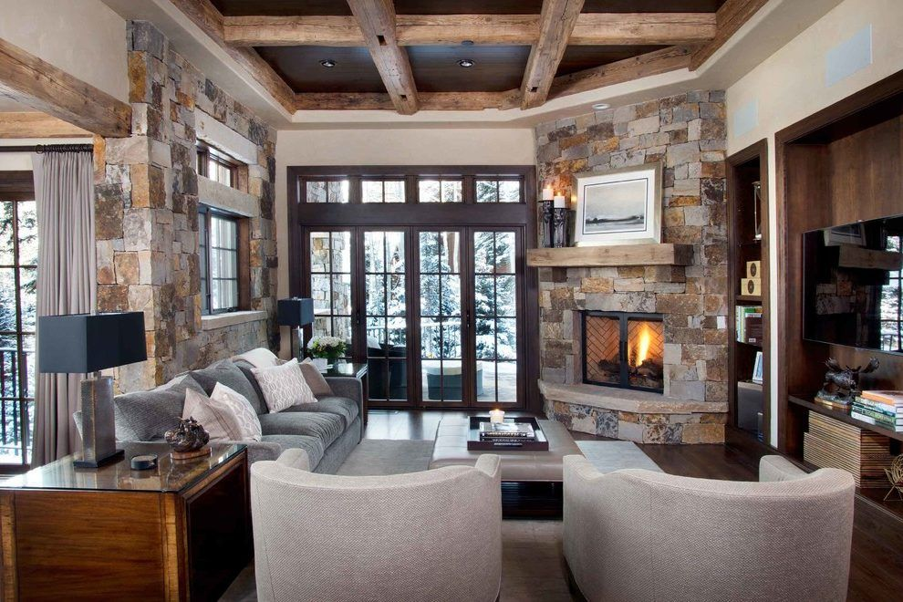 Corner Fireplace Mantels Family Room Rustic With Coffered