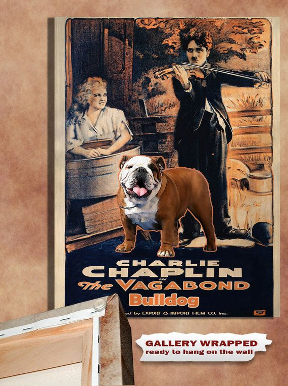 English Bulldog Vintage Movie Style Poster Canvas By Nobilitydogs