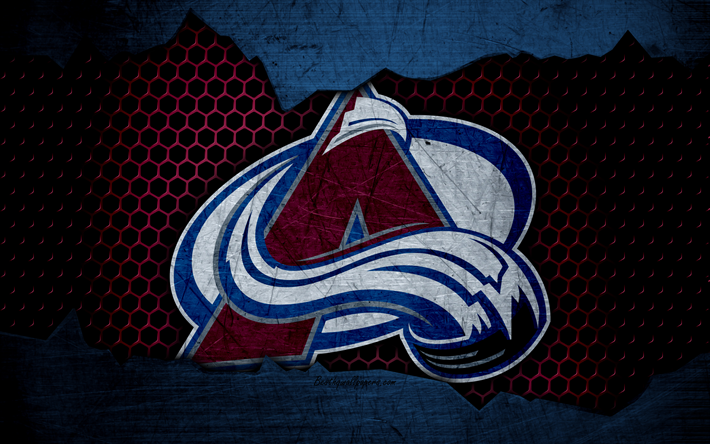 Download wallpapers Colorado Avalanche, 4k, logo, NHL, hockey, Western Conference, USA, grunge, metal texture, Central Division
