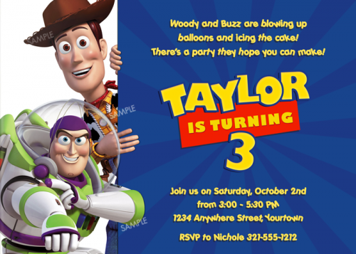 Imprimé Woody Anniversaire Invitations Toy Story Party Invitations