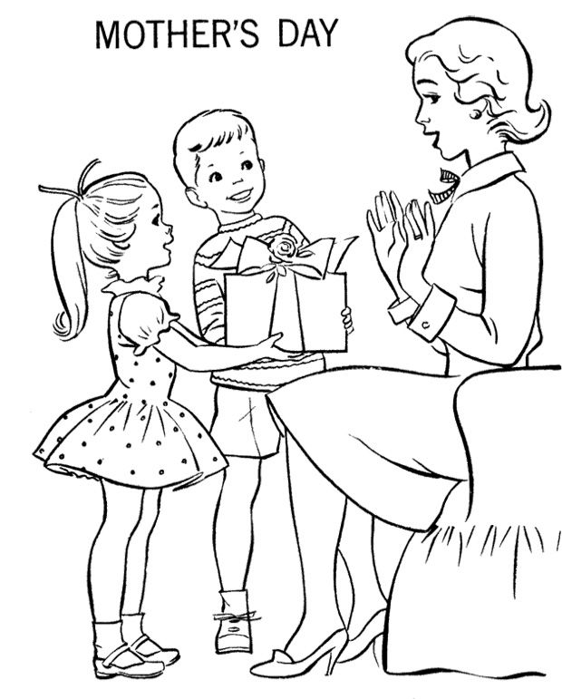 Gift For Mother's Day Coloring Page