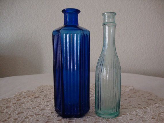 2 Lot Antique English 1890's Aqua & Cobalt by TheAntiqueParlor