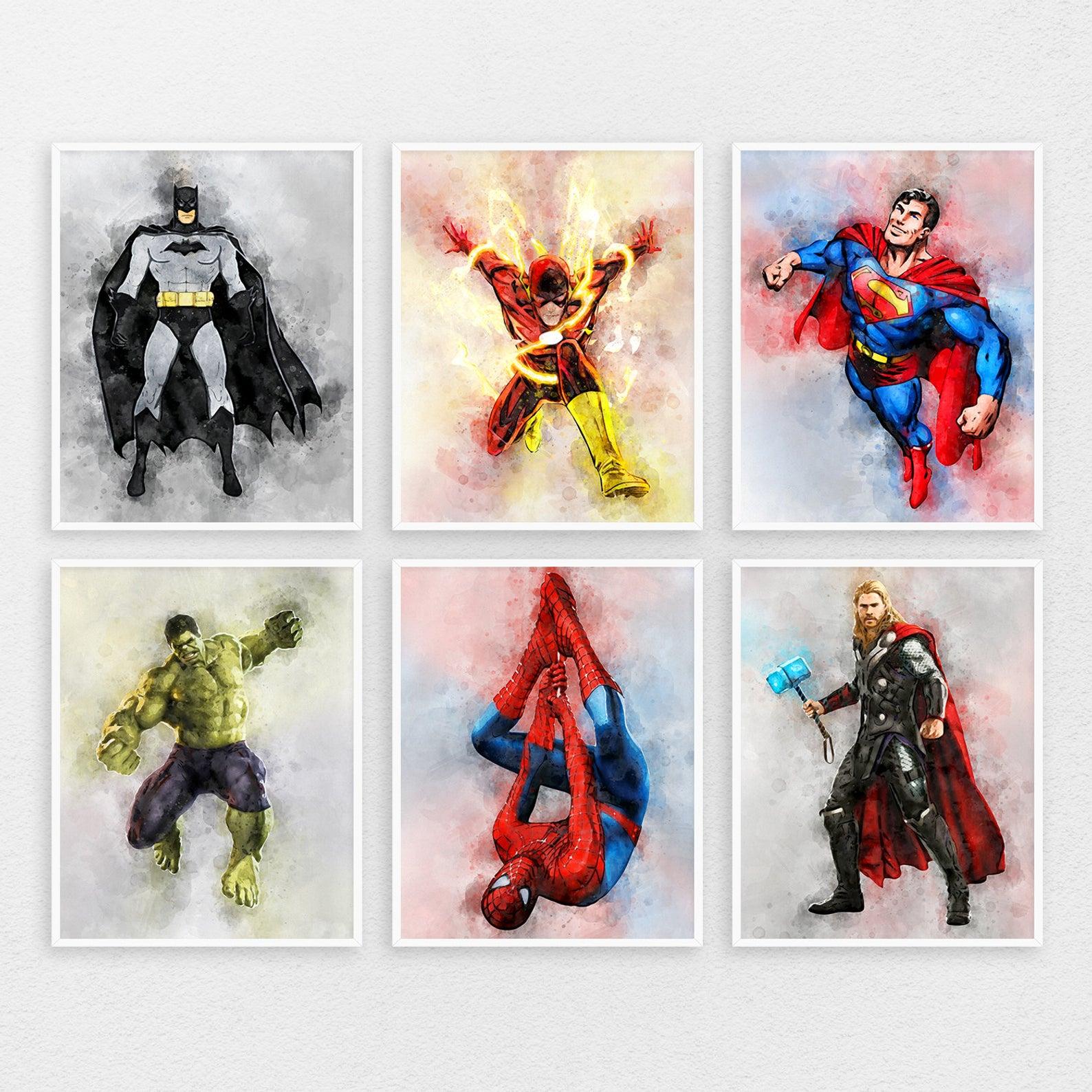 Superhero Print Set Of 6 Superhero Kids Room Posters Etsy Superhero Room Kids Room Poster Room Posters