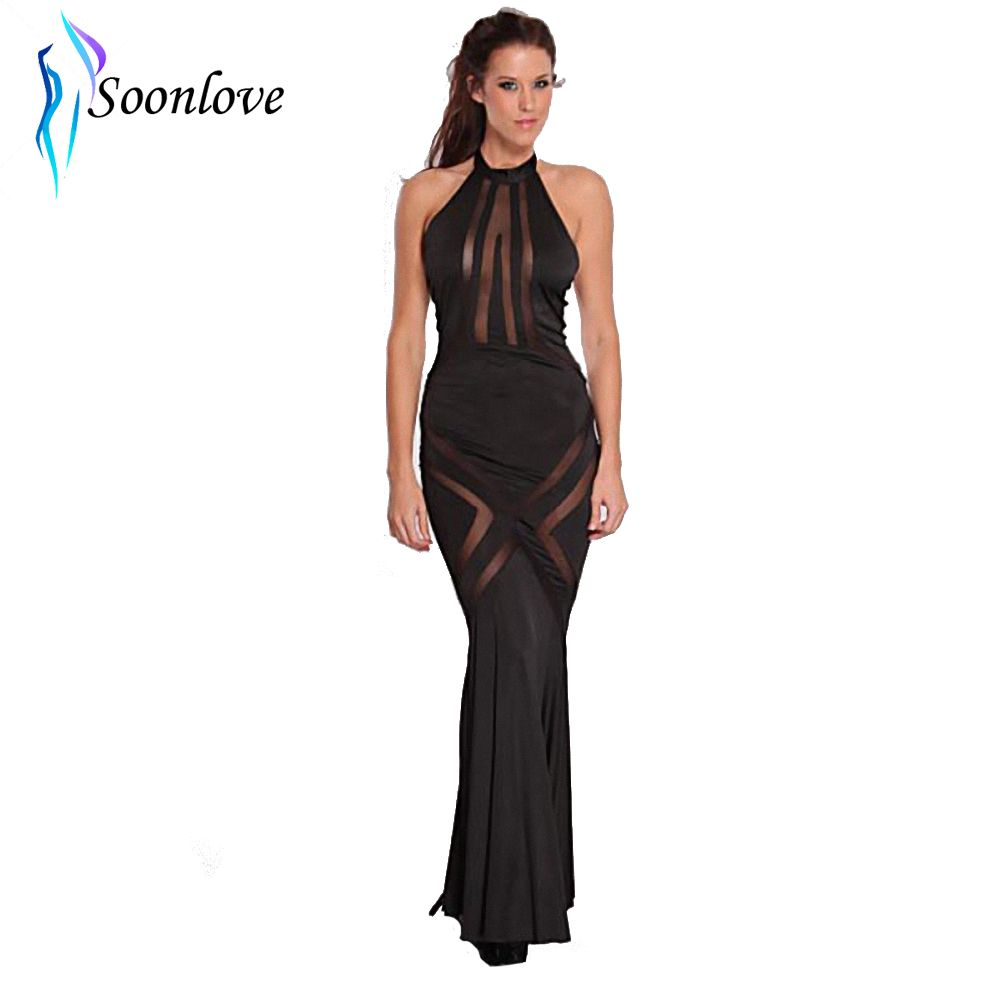 Click to buy ucuc new vintage female black mesh cut out long dress
