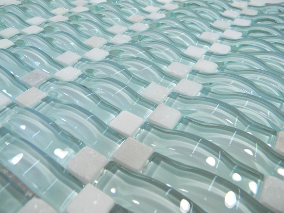Light Aqua Blue Wavy 3d Glass Mosaic Tiles Kitchen Bathroom Flooring Quartz Intrior Interiordesign Inte Mosaic Glass Glass Tile Shower Blue Glass Tile