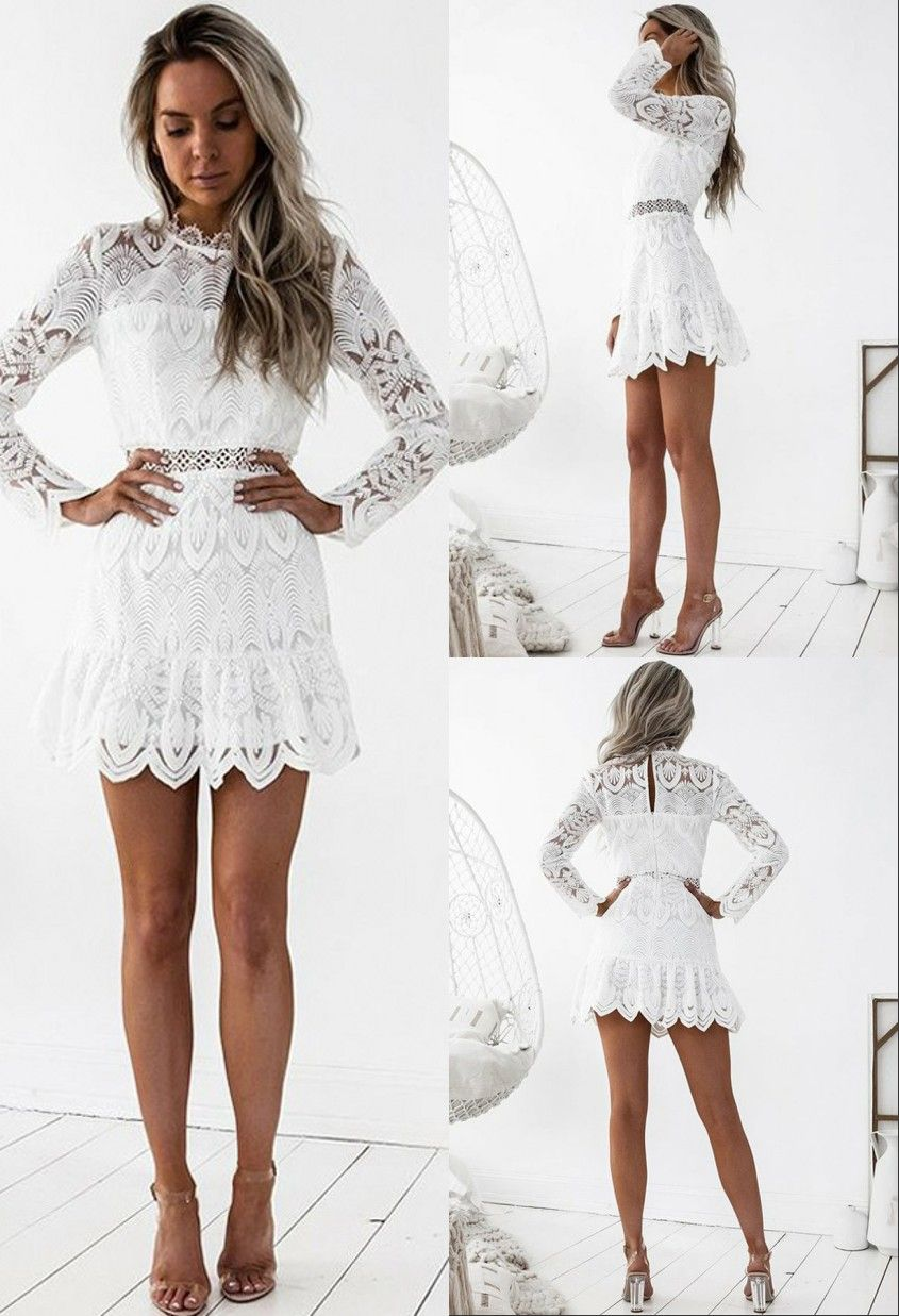 A Line Round Long Sleeves Short White Lace Homecoming Dress With Eyelet Lace Homecoming Dresses Homecoming Outfits Homecoming Dresses [ 1237 x 845 Pixel ]