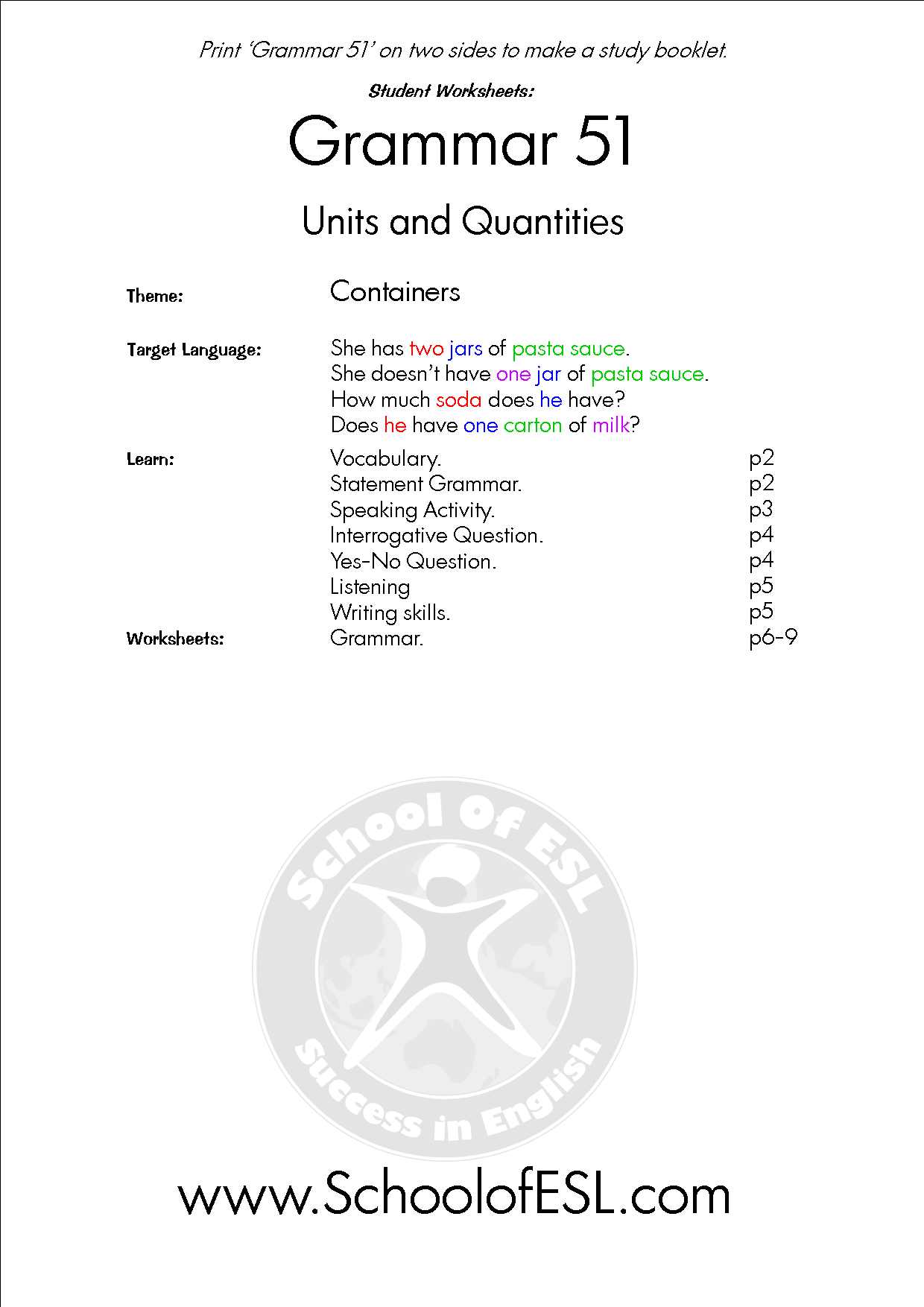 Grammar 51 Units Quantity Resources For Intensive Grammar