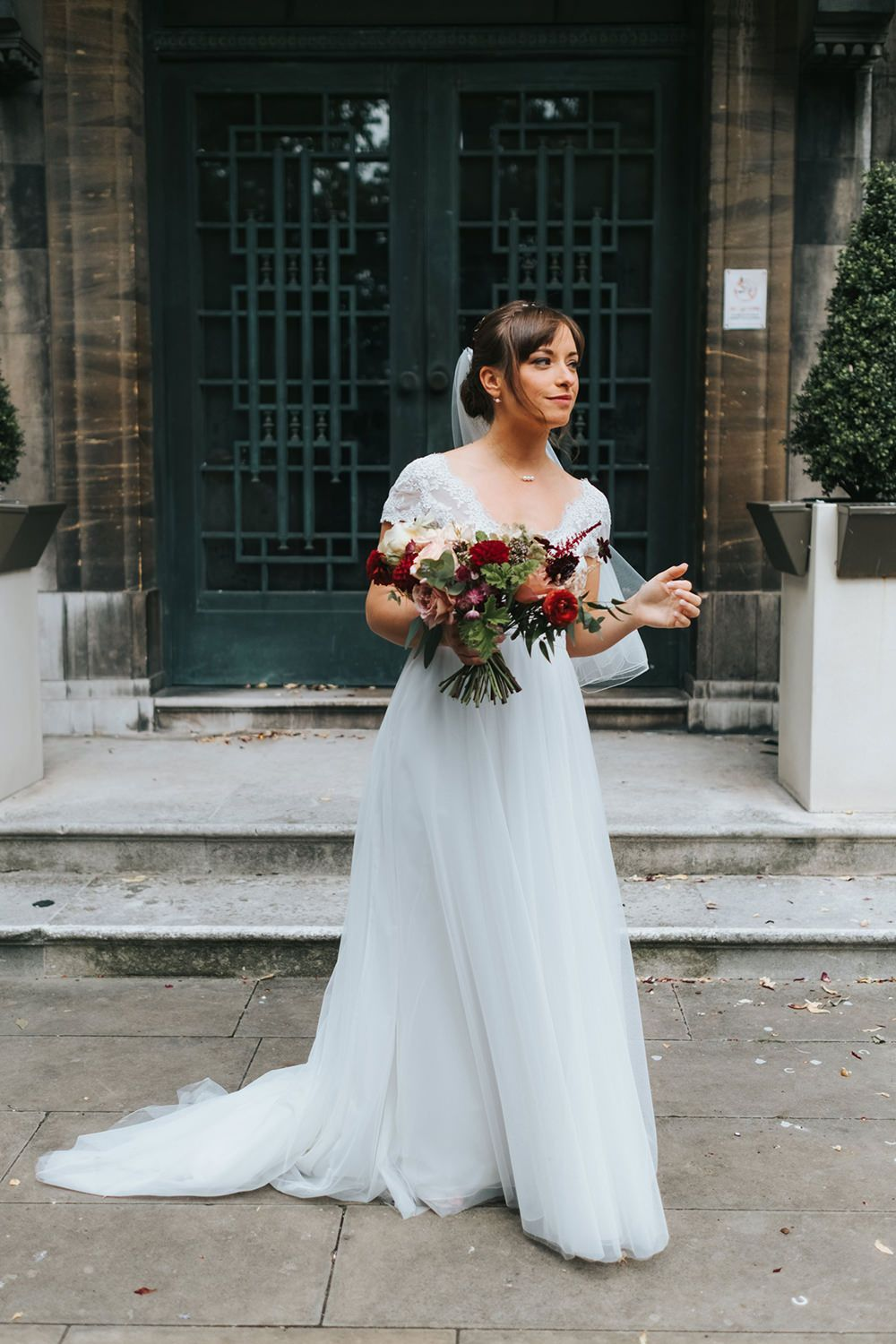 Laid Back London Pub Wedding with Cymbeline Angel Gown from Mirror ...