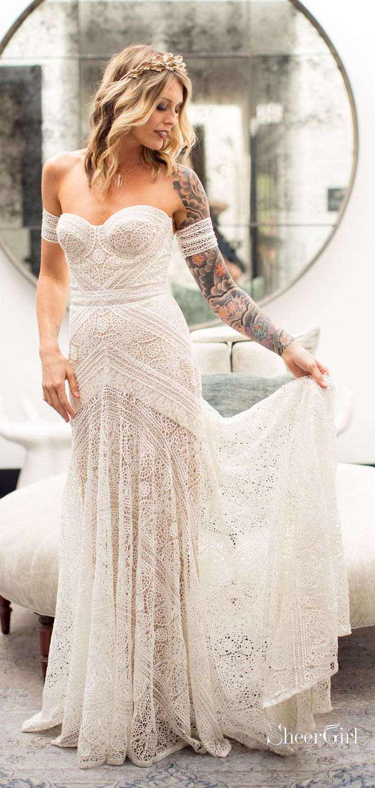 b3eb78fe1d Boho lace sheath wedding gown with arm band #bohowedding #bohoweddingdresses  #weddingdresses #weddingdress