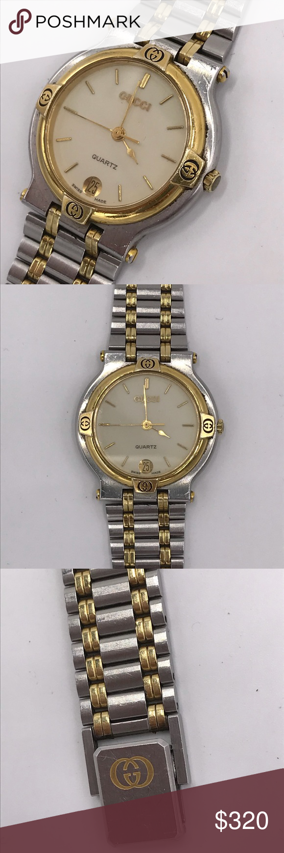 cc8ca82e257 Authentic Vintage Gucci Watch Authentic Vintage Gucci Watch Used  Good  working Condition Normal Wear Color  Gold   Silver Gucci Accessories Jewelry