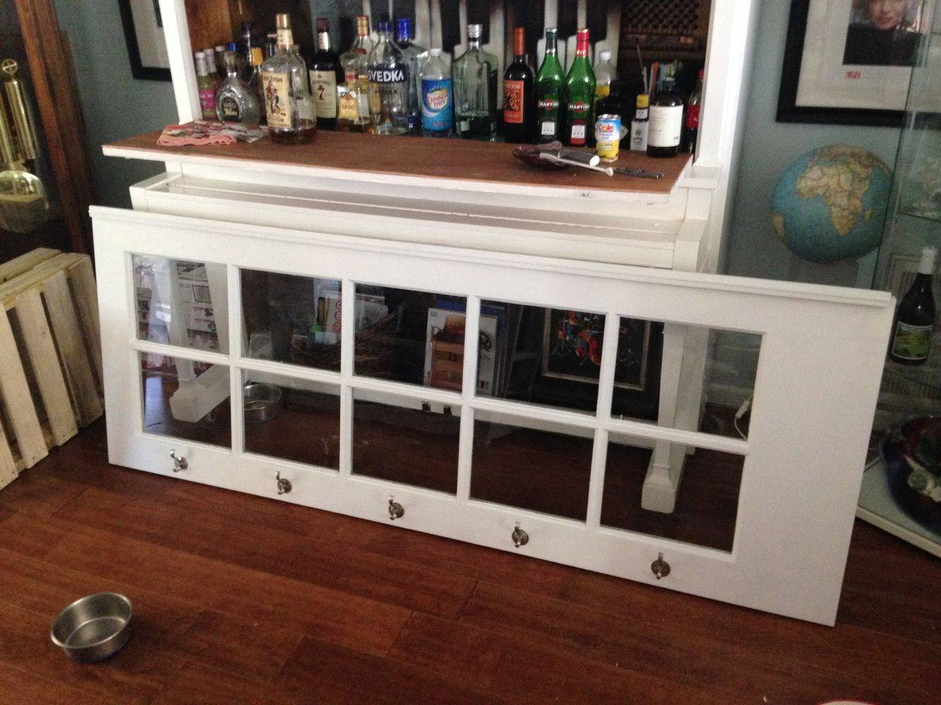 Old Glass Pane Door Made Into A Picture Frame With Hooks For Keys. Piano Bar