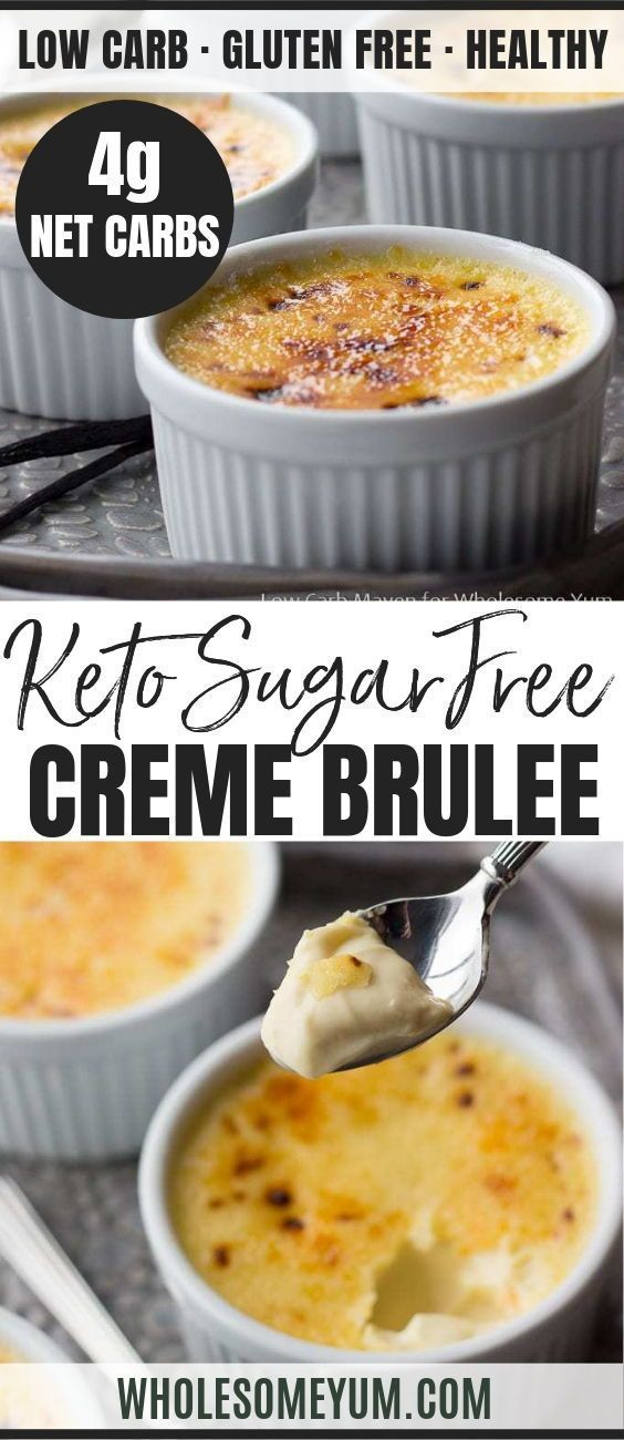This keto low carb creme brulee recipe is made with just 5 ingredients! This classic vanilla dessert is so decadent, you'll never guess it's sugar-free. #cremebrulée