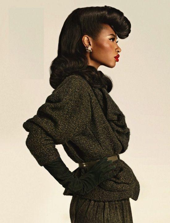 Black dress 40s style hairdo