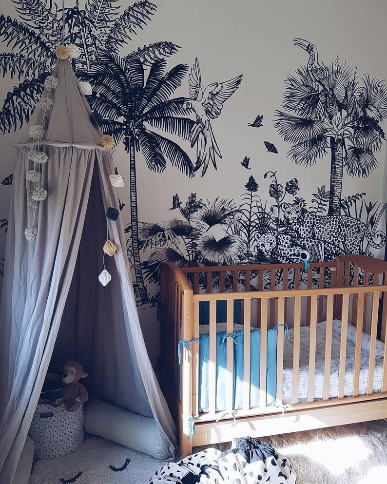 Safari Removable Wallpaper Peel And Stick Tropical Wall Etsy Nursery Trends Nursery Jungle Wallpaper