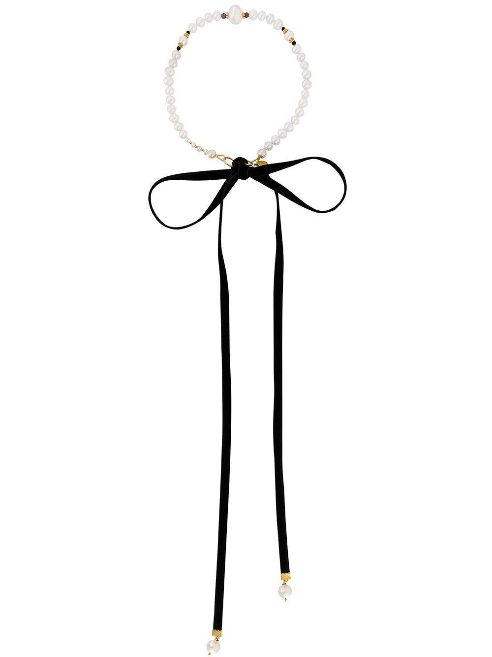 Magda Butrym pearl and ribbon necklace