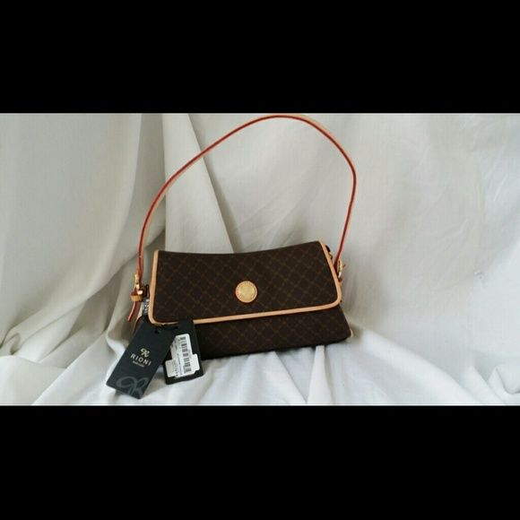 NWT, RIONI Handbag Leather trim..Lots of Organizat Lot of Organization in a med sz Bag....Cute Bags