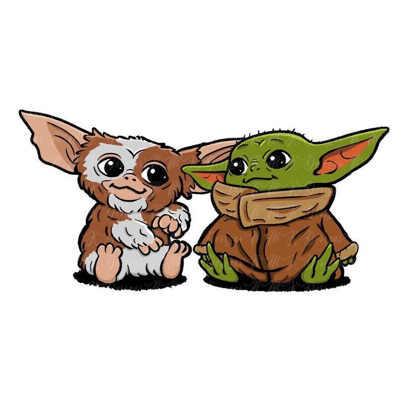 Baby Yoda And Gizmo Drawing Yoda Art Cute Cartoon Wallpapers Yoda Drawing