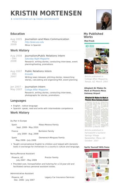 Resume Templates Journalism Resume Templates Vorlagen Lebenslauf