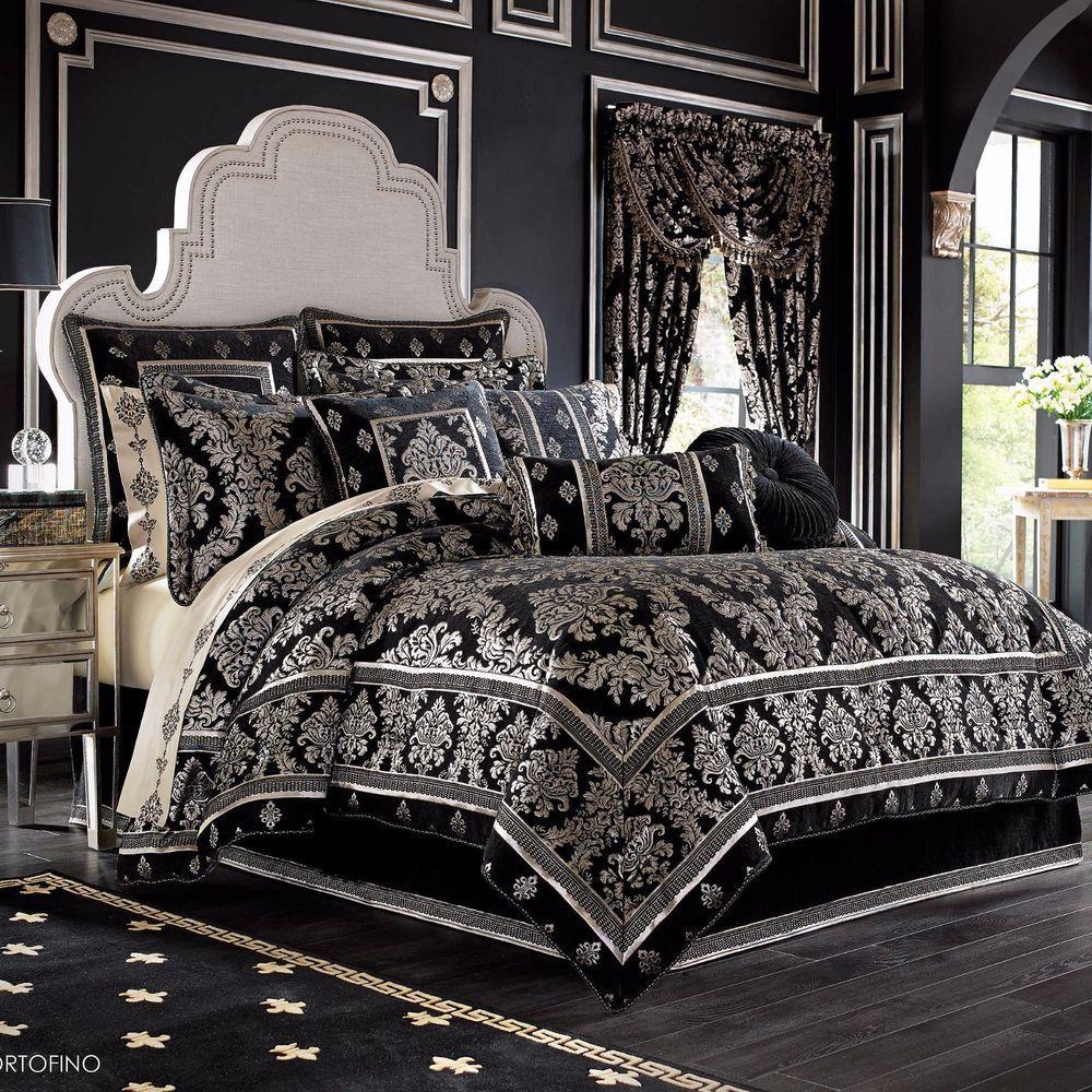 4 Piece Full Black Gold Jacquard Woven Chenille Damask Comforter