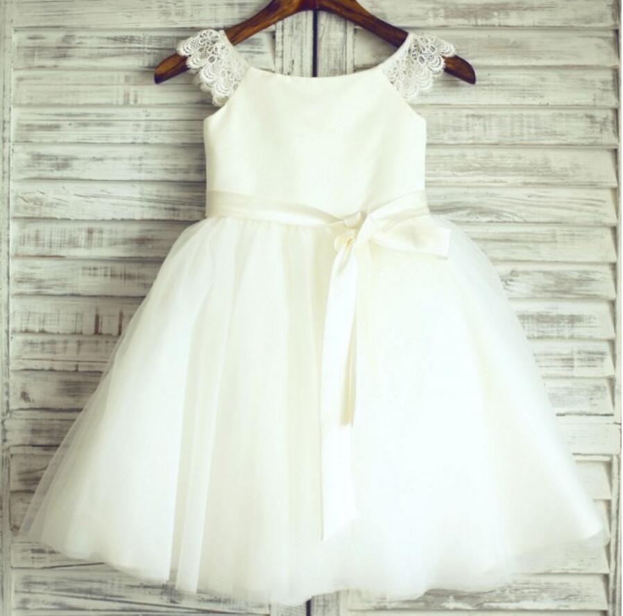 Ivory Lovely Tulle Cheap Flower Girl Dresses Weding Little Girl