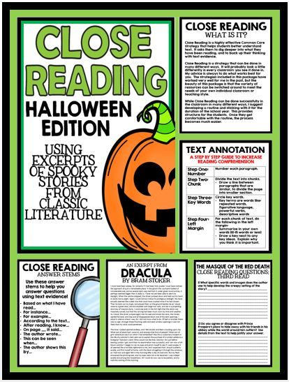 close reading for middle school students halloween edition featuring excerpts from spooky stories from - Halloween Short Stories Middle School