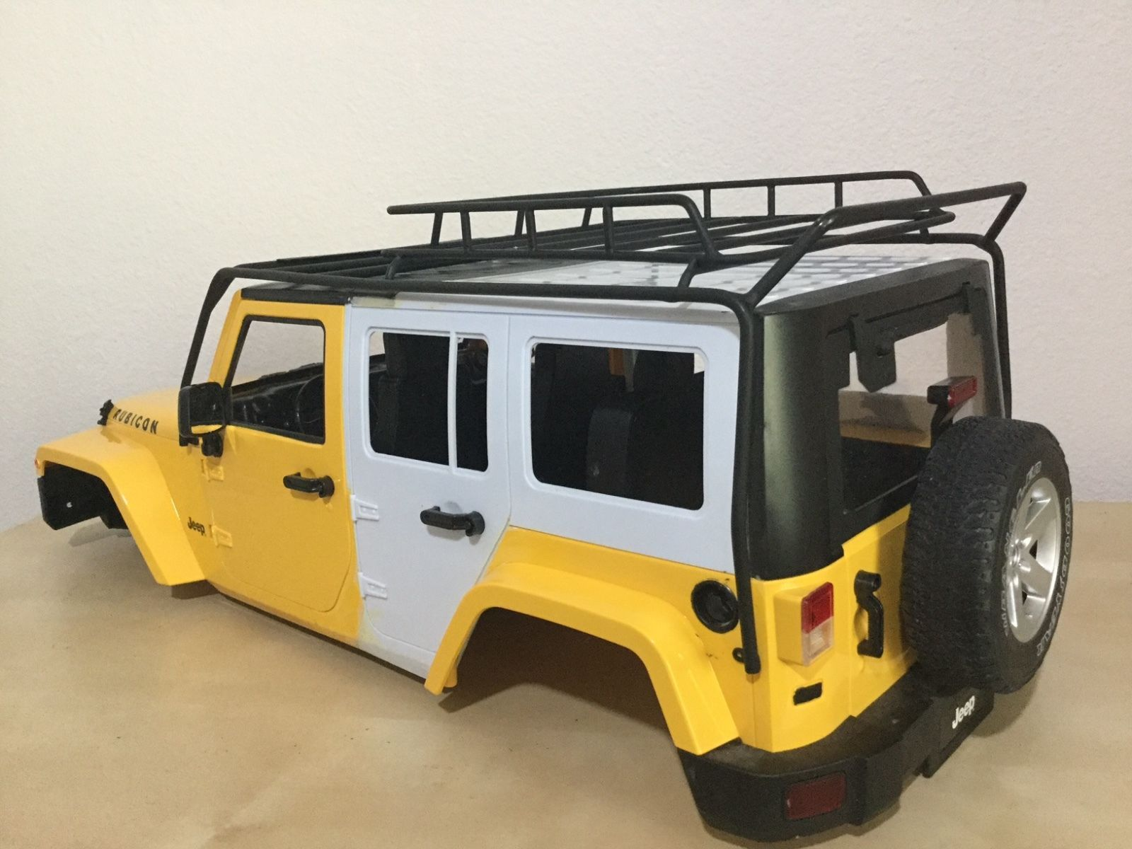 1 10 Scale Jeep Wrangler Rubicon 5 Doors 313 Mm Hand Made W Metal Roof Rack Jeep Wrangler Rubicon Roof Rack Metal Roof