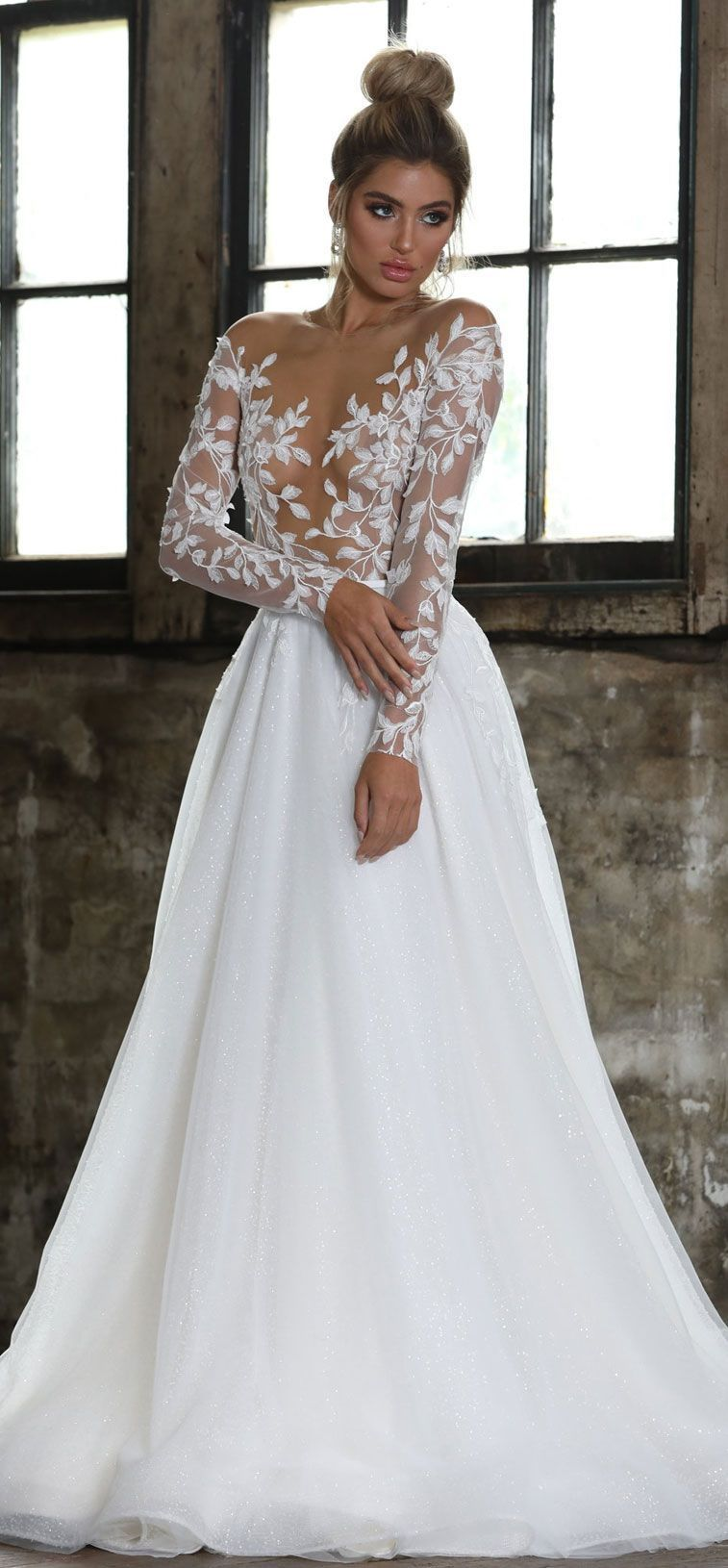 Long sleeves illusion neckline a line ball gown wedding dress