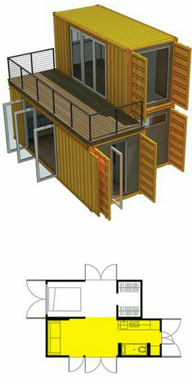 3 Containers 2 Levels Container House Container House Design Shipping Container Home Designs